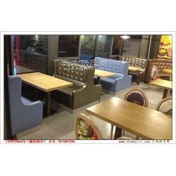 时尚扶手卡座沙发搭配实木贴皮餐厅桌子