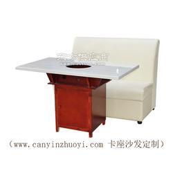 火锅店餐桌和皮革卡座沙发定做图片
