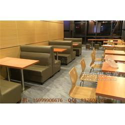 天河区西皮沙发和钢木分体桌椅组合图片