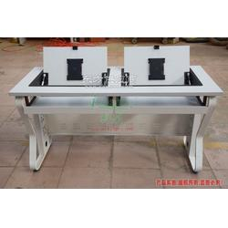钢木翻转电脑桌生产厂家 多功能电脑桌双人 翻转器电脑桌图片