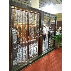 酒店钛金镂空隔断,KTV装饰屏风,别墅豪华古铜花格图片