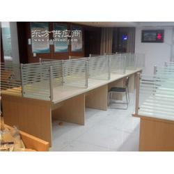 条纹玻璃组合隔断桌 办公屏风卡座 工位图片