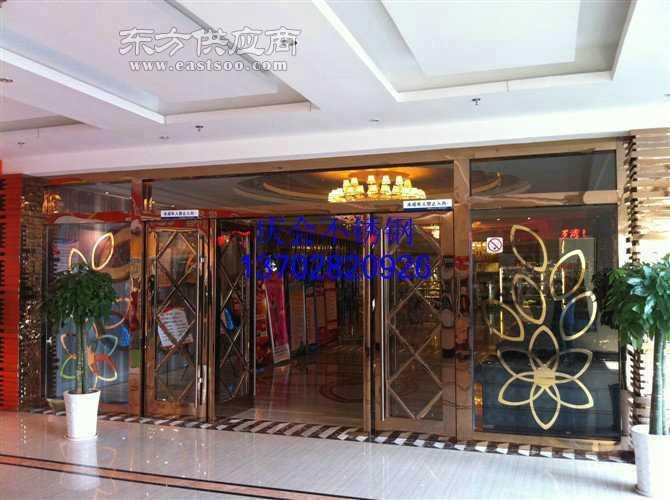 玫瑰金不锈钢雕花门花的玻璃门