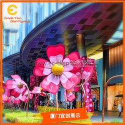 供应酒店房地产商场户外DP装饰大花朵道具定制 粉色仿真花制作图片