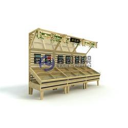 超市水果货架尺寸、超市水果货架、木质果蔬货架图片