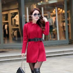 2015秋冬韩版大码女装 时尚加厚中长款毛呢大衣女式呢子外套图片