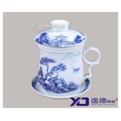 手绘陶瓷茶杯 青花骨瓷带盖茶杯定制图片