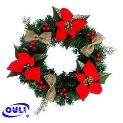 圣诞花环挂饰-欧力工艺品联系方式-广东圣诞花环图片