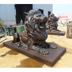 铜狮子雕塑定做,新疆铜狮子雕塑,怡轩阁铜雕厂图片