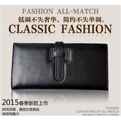义乌哈硕钱包厂,牛皮钱包,时尚流利男款真皮钱包图片