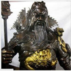 铜关公铜雕|汇丰铜雕(优质商家)|提刀黄铜关公铜雕塑图片