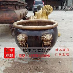 黄铜缸铜雕塑加工_铜缸_汇丰铜雕图片