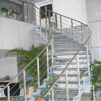 霸州楼梯 直梁 旋转 套扣 玻璃系列钢木楼梯图片