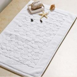 厂家定制酒店地巾白色纯棉提花地巾全棉加厚防滑鹅卵石地巾图片