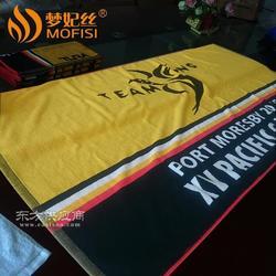 厂家定制运动浴巾毛巾纯棉色织提花黑色外贸出口运动沙滩巾图片