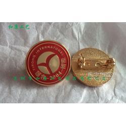 定做带公司logo戴在西服上的铜材料镀金烤漆滴胶金属胸牌图片