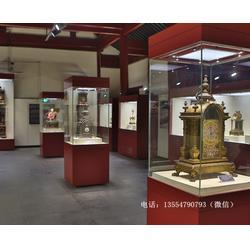 四面玻璃瓷器展台博物馆独立柜订做厂家-单件陈列博物馆展柜尺寸图片
