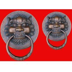大门铜狮子门环制作 铜狮子 宏达雕塑图片