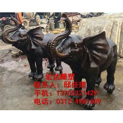 铜大象-门前摆件铜大象雕塑-铸铜大象生产厂家图片