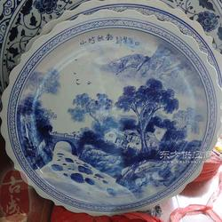 纯手工青花手绘瓷盘 大瓷盘图片