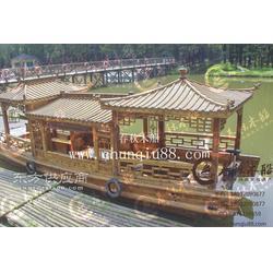 中式单亭木船 定制双亭观光木船 手划船 休闲摄影木船图片