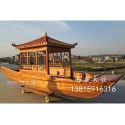 6米单亭船 木质单亭船 农用木船带摇橹 休闲观光船 长度可定做图片