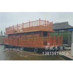 14米雙層觀光畫舫船 大型水上餐飲畫舫船 公園載客觀景木船 大型水上娛樂設施圖片