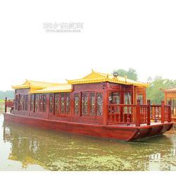 10m观光旅游船 景区电动画舫船 仿古画舫木船 颜色可选配图片