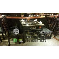 餐厅实木火锅桌图片