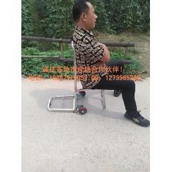 不锈钢2轮载重行李车 带座椅 手拉车 多功能 购物车 旅行座位车图片