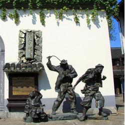 黄包车人物铜雕塑-人物铜雕塑定做-人物铜雕塑图片