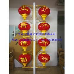 led红灯笼藏族文化串灯笼定制八宝图灯笼四连串特色防水灯笼安装图片