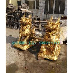 铜雕麒麟摆设,进忠雕塑,朔州铜雕麒麟图片