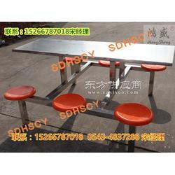 6人连体餐桌椅不锈钢单位食堂餐厅餐桌椅定做鸿盛品牌餐桌椅图片