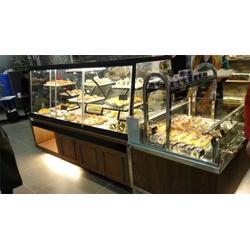桂林面包展示柜|宏安休闲食品厂设备|木制面包展示柜图片