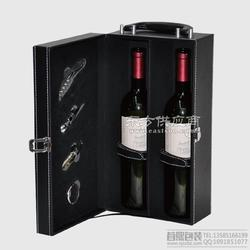 厂家直销黑色双只现货红酒盒皮盒 供应葡萄酒礼盒高档酒类包装盒图片