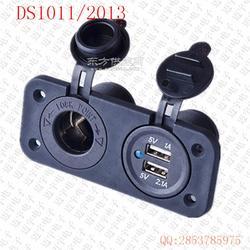 12V双重点烟器插座适配器电源插座 车载车充双USB充电器图片