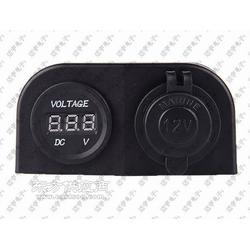 DIY车用点烟器插座适配器 12V电源母座带LED数显电压表图片