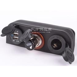 三孔帐篷车直流电压数字电压表12 v点烟器带点烟头双USB车载车充图片