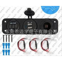汽车双USB车充 车用点烟器电源插座 LED电压表改装带线束图片