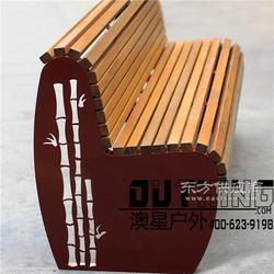 新中式公园椅3.0厚不锈钢激光雕花竹子图案户外景观坐凳304不锈钢印尼菠萝格实木座椅靠背椅图片