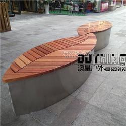 广场商业街叶子不锈钢实木坐凳不锈钢异形特色创意组合景观坐凳定制304不锈钢菠萝格实木公共场所座椅图片