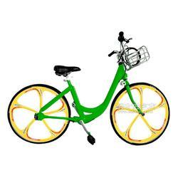 佳德兴无链轴传动公共自行车绿色黄轮韩国图片