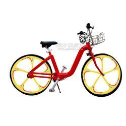 佳德兴无链轴传动公共自行车红色黄轮框图片