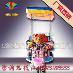 泰迪熊机器人蹬车 光头强拉车 机器人蹬三轮车 小洋人拉车厂家 儿童充气电瓶车车图片