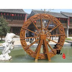 景区装饰 防腐木水车图片