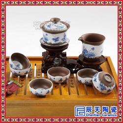 创意裂纹釉7头陶瓷功夫茶具套装 双层隔热青花瓷茶具定制logo图片