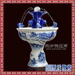 喷雾空气加湿器双层陶瓷喷泉定制 手绘富贵图水中珠喷泉摆件图片