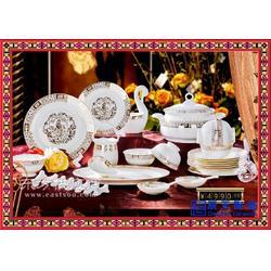 公司周年庆定制纪念礼品陶瓷餐具套装 简约金边玫瑰餐具图片