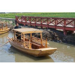 5.5m單蓬觀光木船 江南水鄉觀光游船 河道景觀裝飾木船 廠家直銷圖片